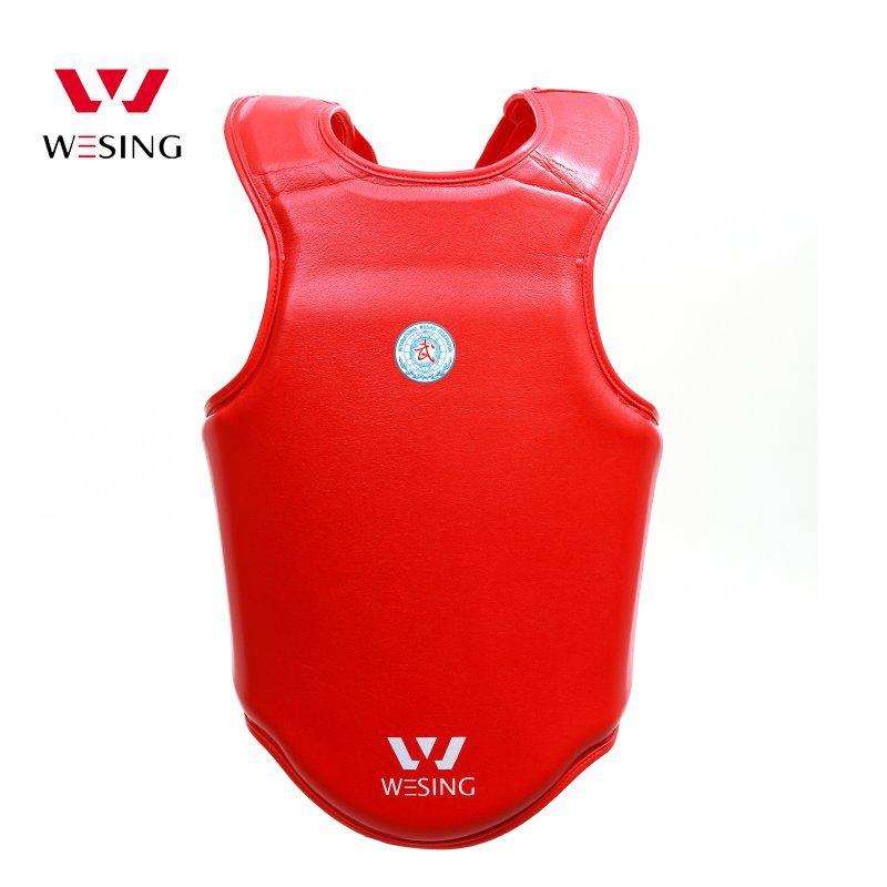 Wesing wushu sanda straży piersiowej pu skórzane ochraniacz klatki piersiowej sanshou dla konkurencji sanda zatwierdzone IWUF