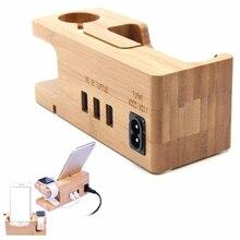 Wooden Mobile Phone Holder Porous Usb Charging Bracket Bamboo Universal Dock For Smart Phones