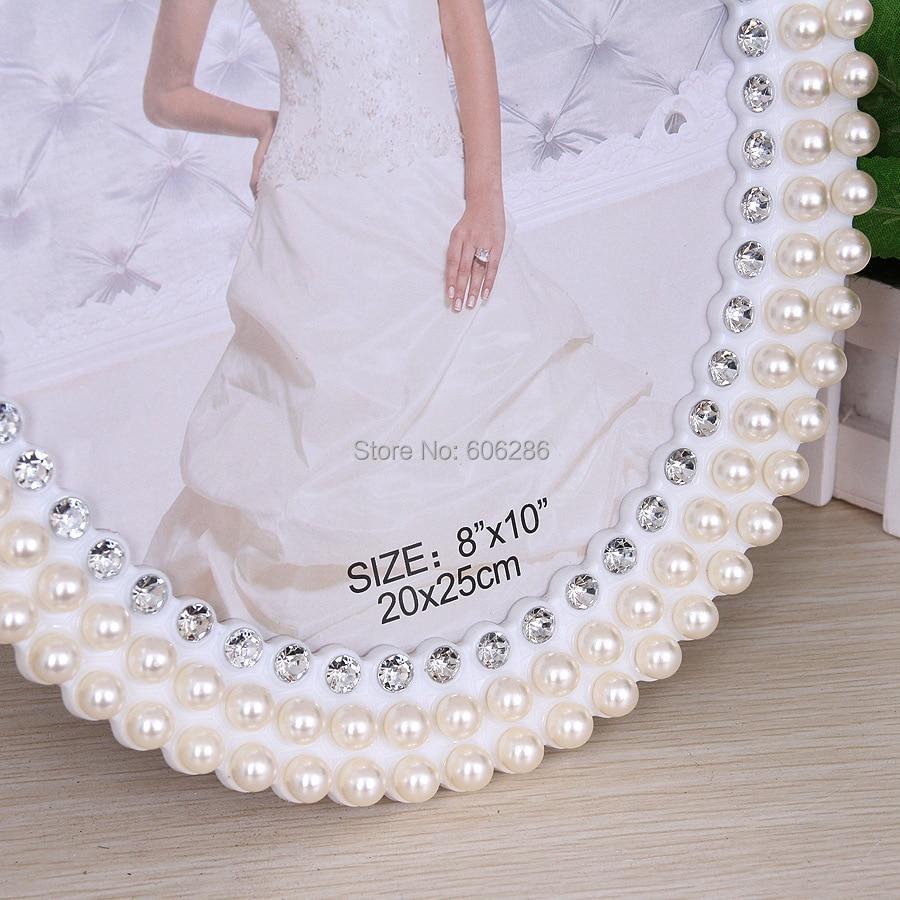 6 inch oval shape fashion pearl diamond white pearl metal photo ...
