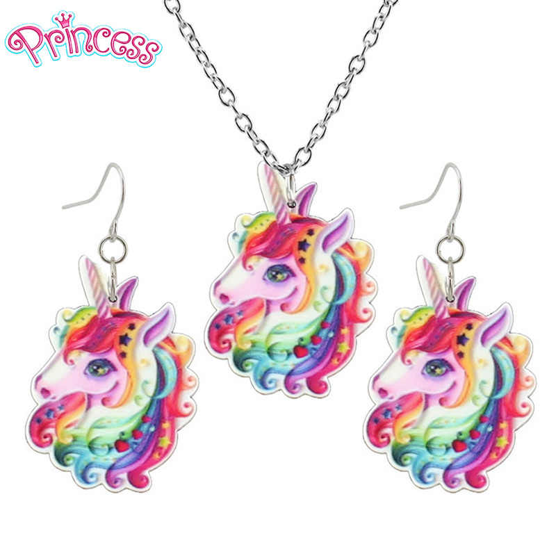 2019 Fashion Girls Kids Gift Jewelry Little Unicorn Earring Pendant 40cm Short Chain Necklace Free Shipping Xma Gift KS02