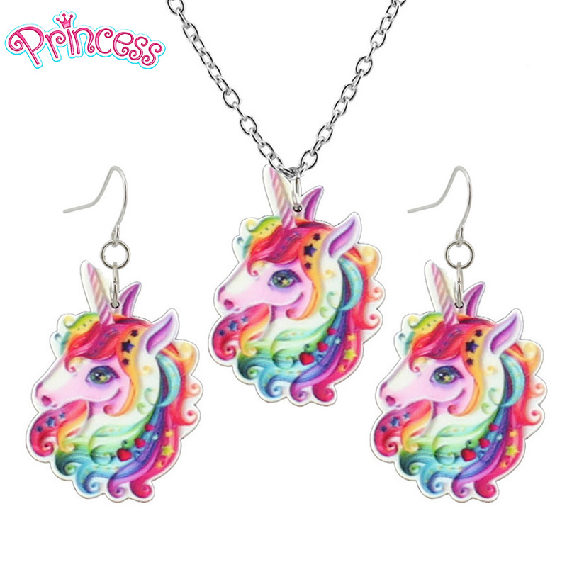 2019 Fashion Girls Kids Gift Jewelry Little Unicorn Earring Pendant 40cm Short Chain Necklace Free Shipping Xma Gift KS02