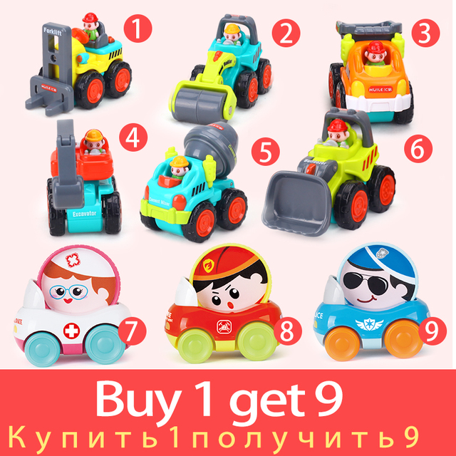 6PCS/Lot Baby Toys Mini Construction Vehicle Cars- Forklift, Bulldozer, Road Roller, Excavator, Dump Truck, Tractor Toys for Boy
