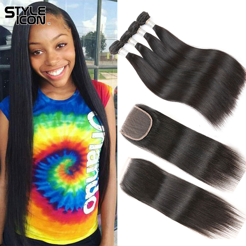 Styleicon Straight Hair Bundles With Closure Malaysian Hair Bundles With Closure Straigh 3 Bundles Hair Weaving With Closure