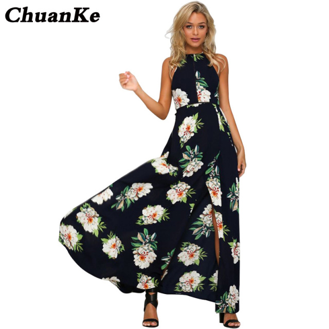 7e023d21f1666 Women Halter Neck Chiffon Dress Floral Print Sleeveless Split Backless Long  Dress Elegant Hollow Out Beach Maxi Boho Dress