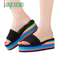 #15 1PC Women Rainbow Summer Non-Slip Sandals Female Beach Slippers 36-40 Hot Drop Shipping