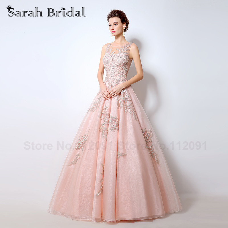 LX056 Illusion Blush Embroidery Evening Dresses Ball Gown Fashion ...