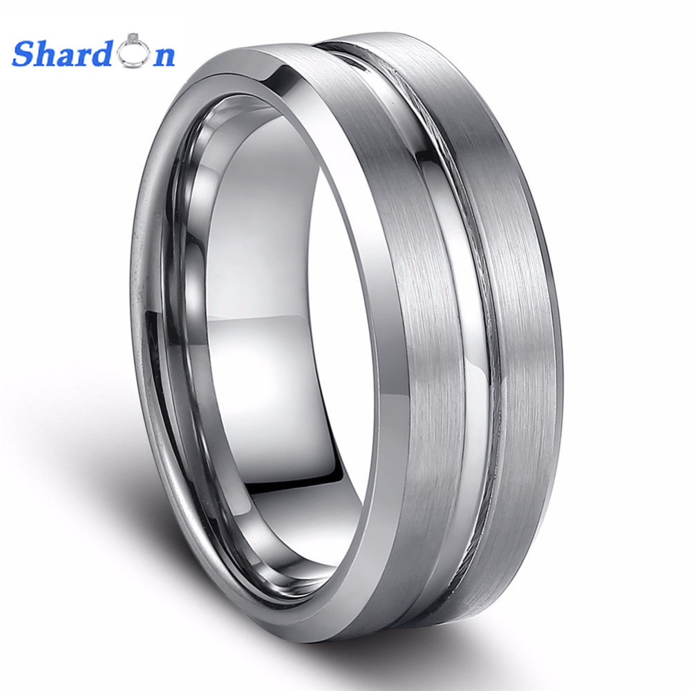 SHARDON Hot Sales Mens Ring 8mm Beveled Tungsten Ring With Grooves Mens Engagement Wedding Band