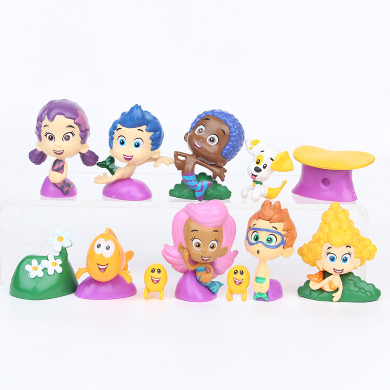12 Pcs/Set Bubble Guppies Cute Bubble Puppy Goby Deema Gil Oona Underwater Scenery 2-5CM PVC Action Figure Toys For Childs Gift