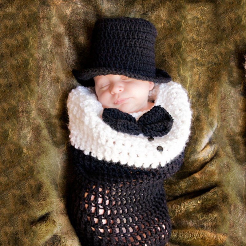 Newborn Boy Photography Props Crochet Sleeping Bag With Bowtie Knit Beanie Hat Photo Shoot Props A105 Baby Costume Accessories 0 4m christmas baby photo props newborn baby girls boys photo photography prop crochet knit costume pants with hat
