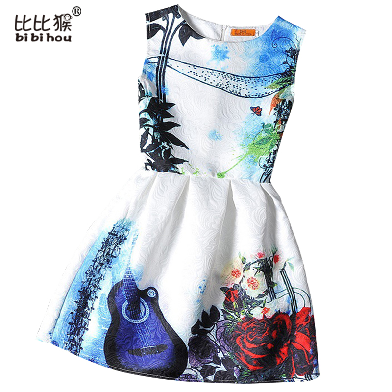 Mother&kids Dress Girl Dress 2016 Summer Style Sleeveless Printed Kids Dresses Girls Clothes Party Princess Dress Vestidos Nina
