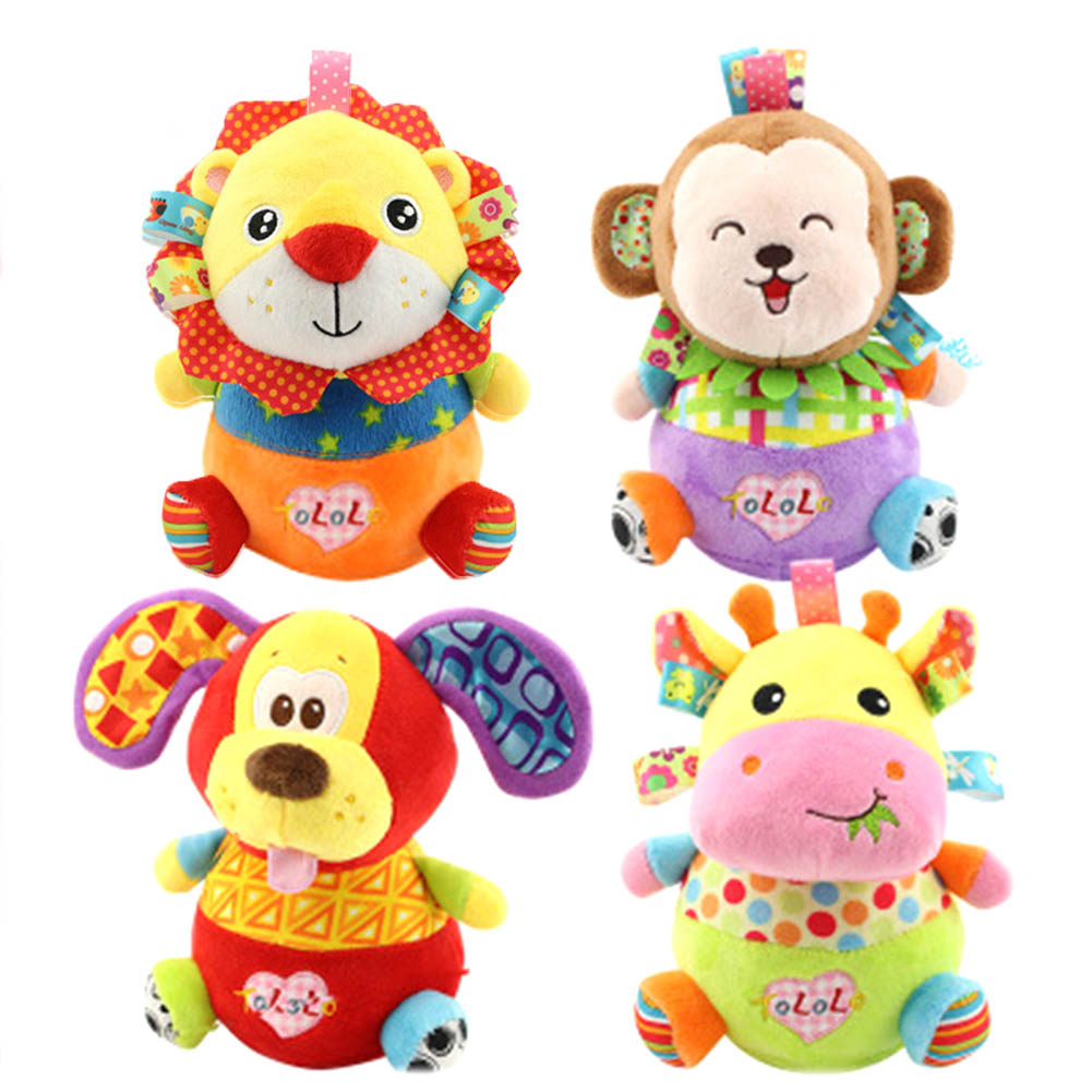 Baby Toy Tumbler Baby Rattles & Mobiles Plush Sound Paper Soft Cartoon Tumbler 0-12 Month