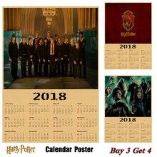 Hot Sale Harry potter 2018 calendar poster Vintage Antique Posters Wall Sticker Home Decora