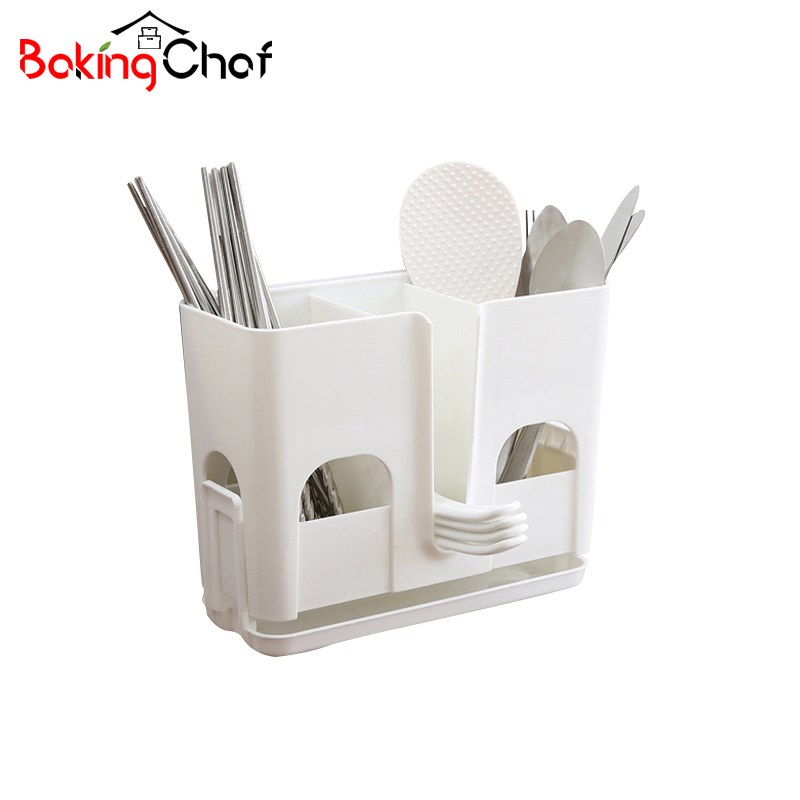 BAKINGCHEF Non-trace Stick Kitchen Storage Racks Chopsticks Spoon Wall Mounted Holder Home Organization Accessories Supplies