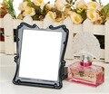 DUcare Cosméticos Espelho Preto Super slim Couro Mulheres Beleza Make up Espelho Portátil Dobrável 8.2x6.5 polegadas