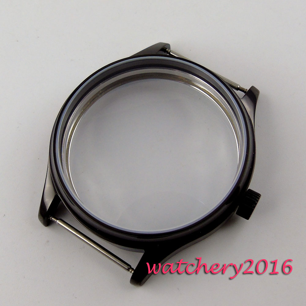 44mm parnis noir PVD montre stérile boîtier fit eta 6498 6497 remontage à la main mouvement hommes-in Boîtiers de montres from Montres    2