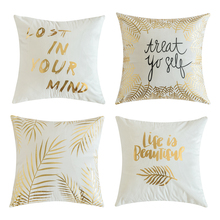 Pack of 4 Gold Stamping Decorative Outdoor Square Throw Pillow Covers Set Cushion Case for Sofa Bedroom Car 45 x cm