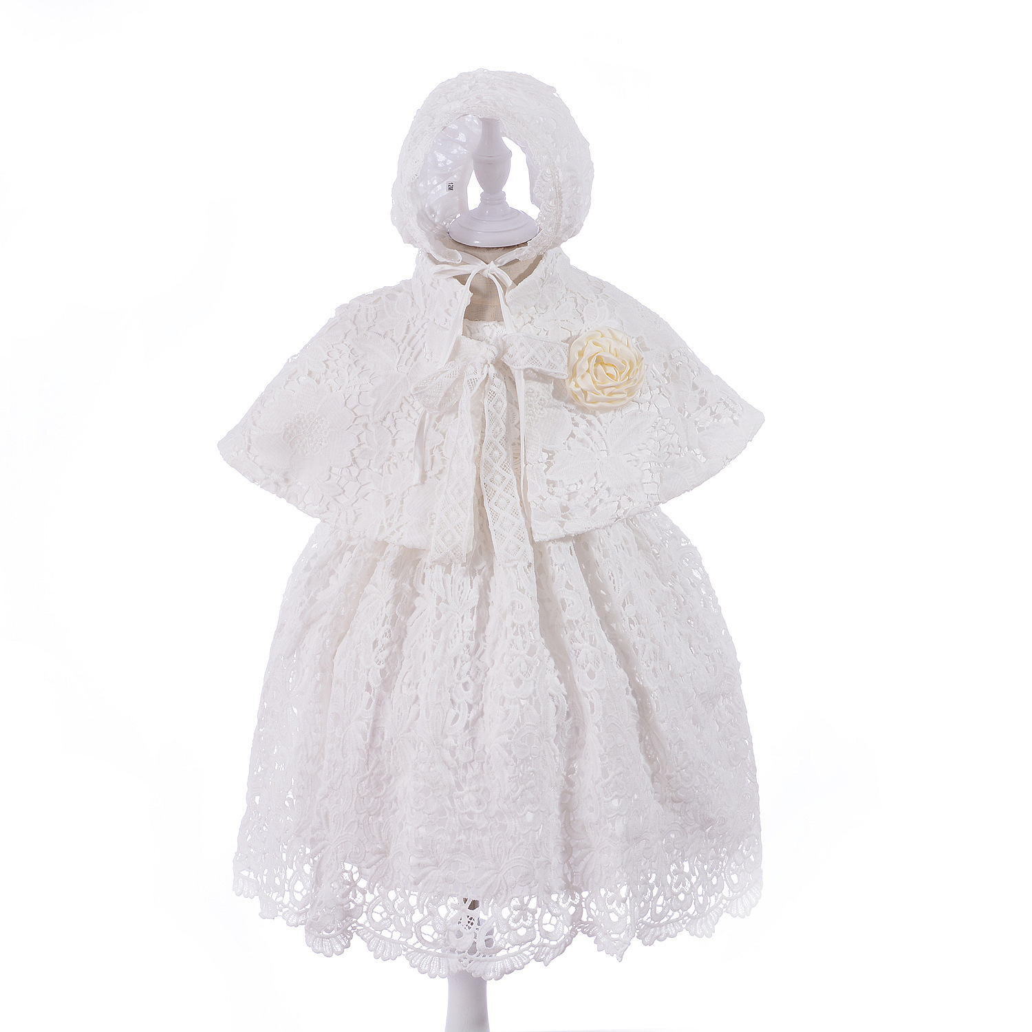 Brand 3pcs Baby Girls Dresses Cape Cardigan Baby Girl 1 Year Birthday Baptism Clothes Lace Christening Ball Gown RBF184002|Dresses| |  - title=