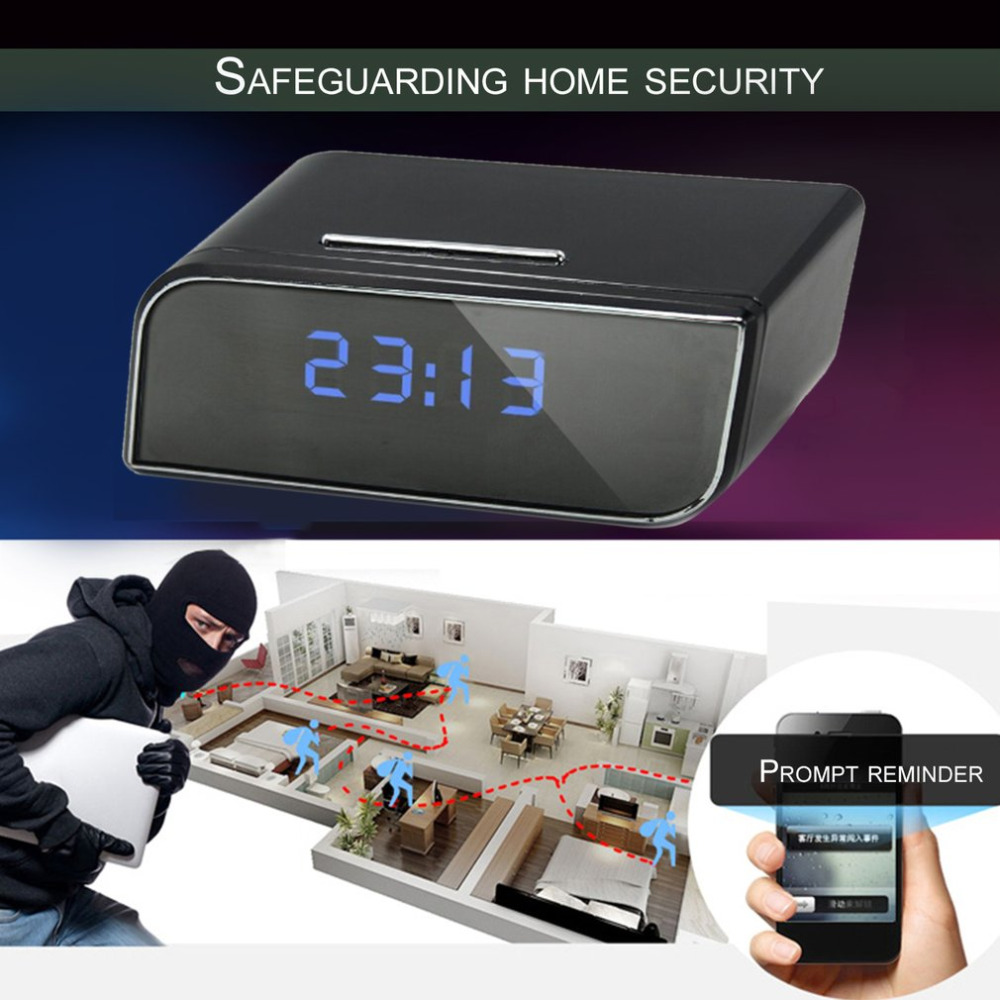 Portable Ultra Wide Angle Camera Clock Alarm 1080P Wireless Wifi Night Vision IR Room Home Security Cam Camcorder Gifts Freeship