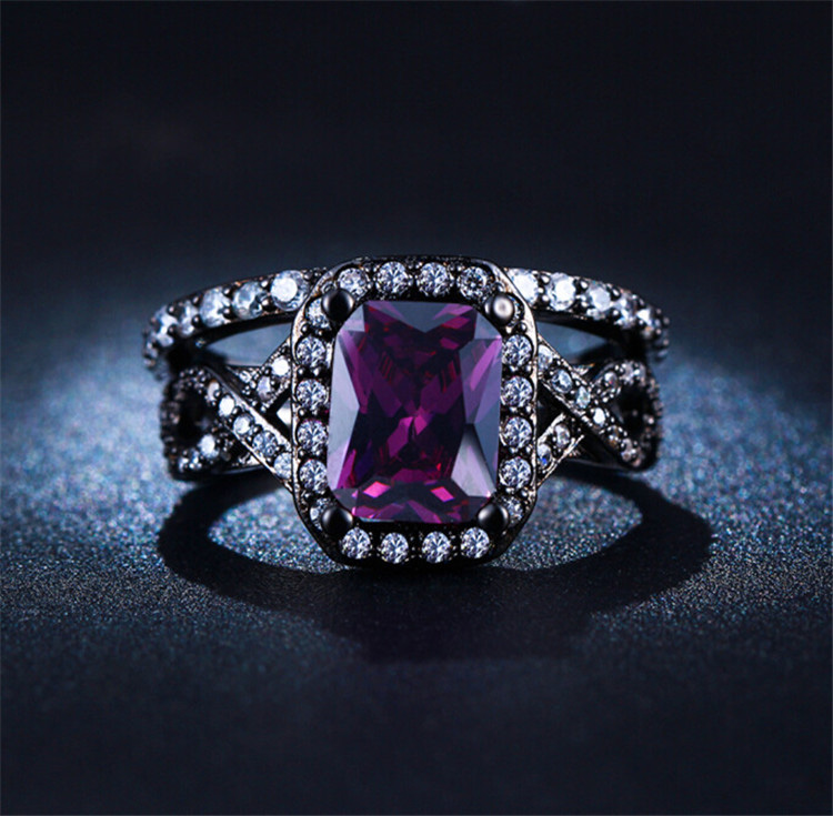 Aliexpress.com : Buy SHUANGR New Black Gold Color Purple Zircon Purple  Vintage Jewelry CZ Zircon Wedding Rings For Women Engagement Bague Bijoux  From ...