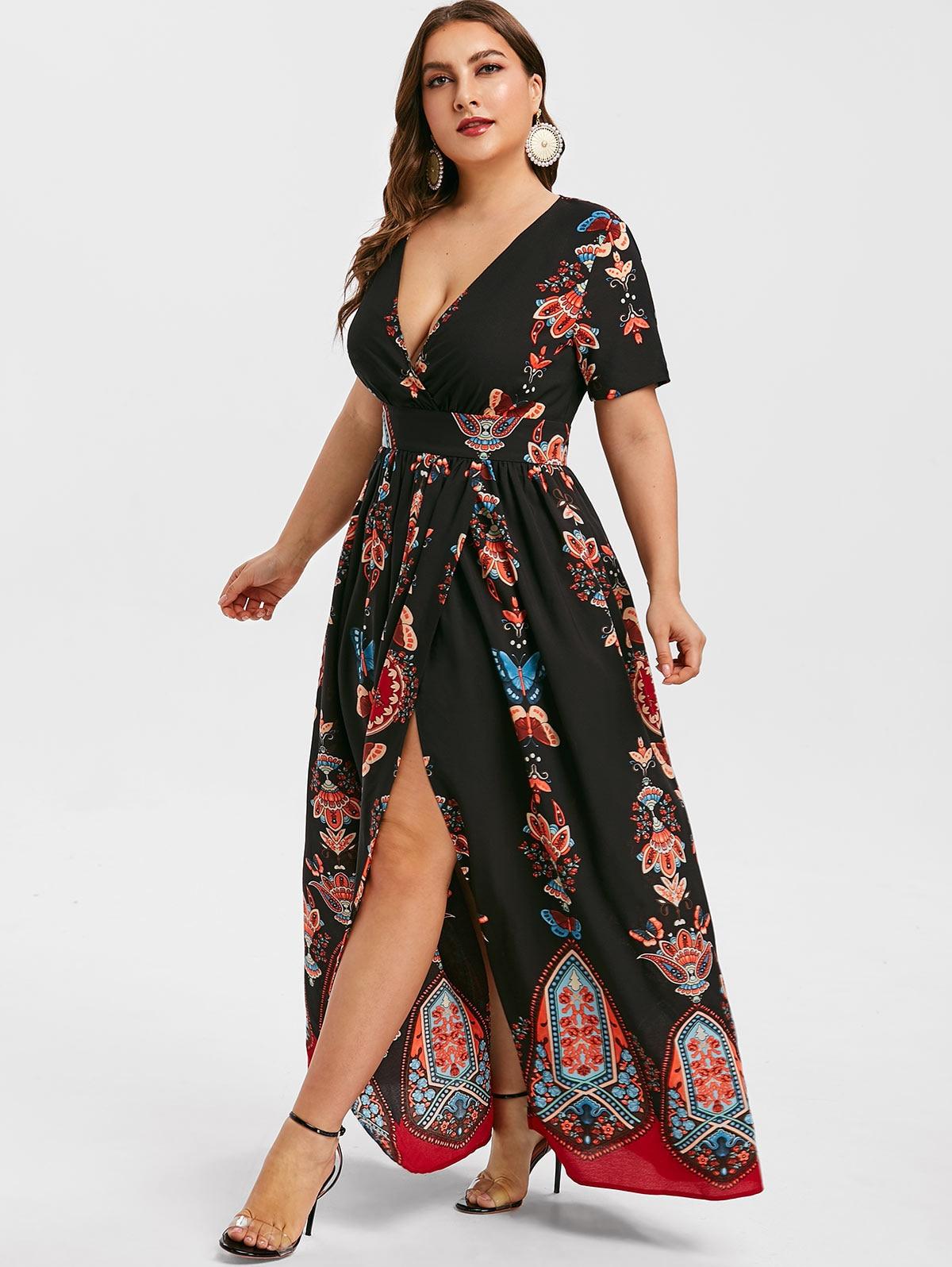 Wipalo Plus Size Printed Maxi Split Dress Bohemian Beach Summer Dress Women Vintage V Neck Floor