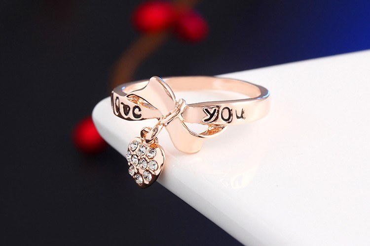 17KM Romantic Gift Retro Love Heart Bow Rings Rose Gold Color wedding Austrian Crystal Element Rings Word Ring For Women 3