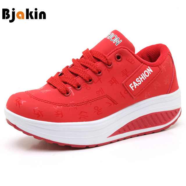 872ba9c70cd8 Bjakin Red Platform Sneakers Women 2018 Swing Wedges Sport Shoes Ladies  Fitness Running Shoes Walking Footwear Plus Size 42