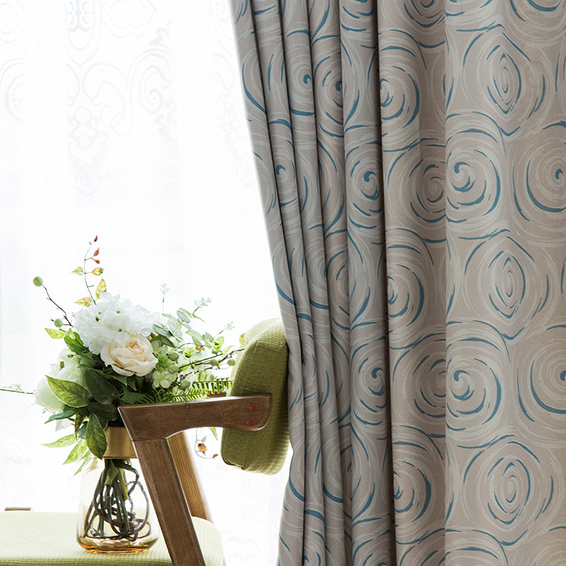 Modern Boutique Curtains For Living Dining Room Bedroom Simple Double-sided Brushed Blackout Curtain Fabric