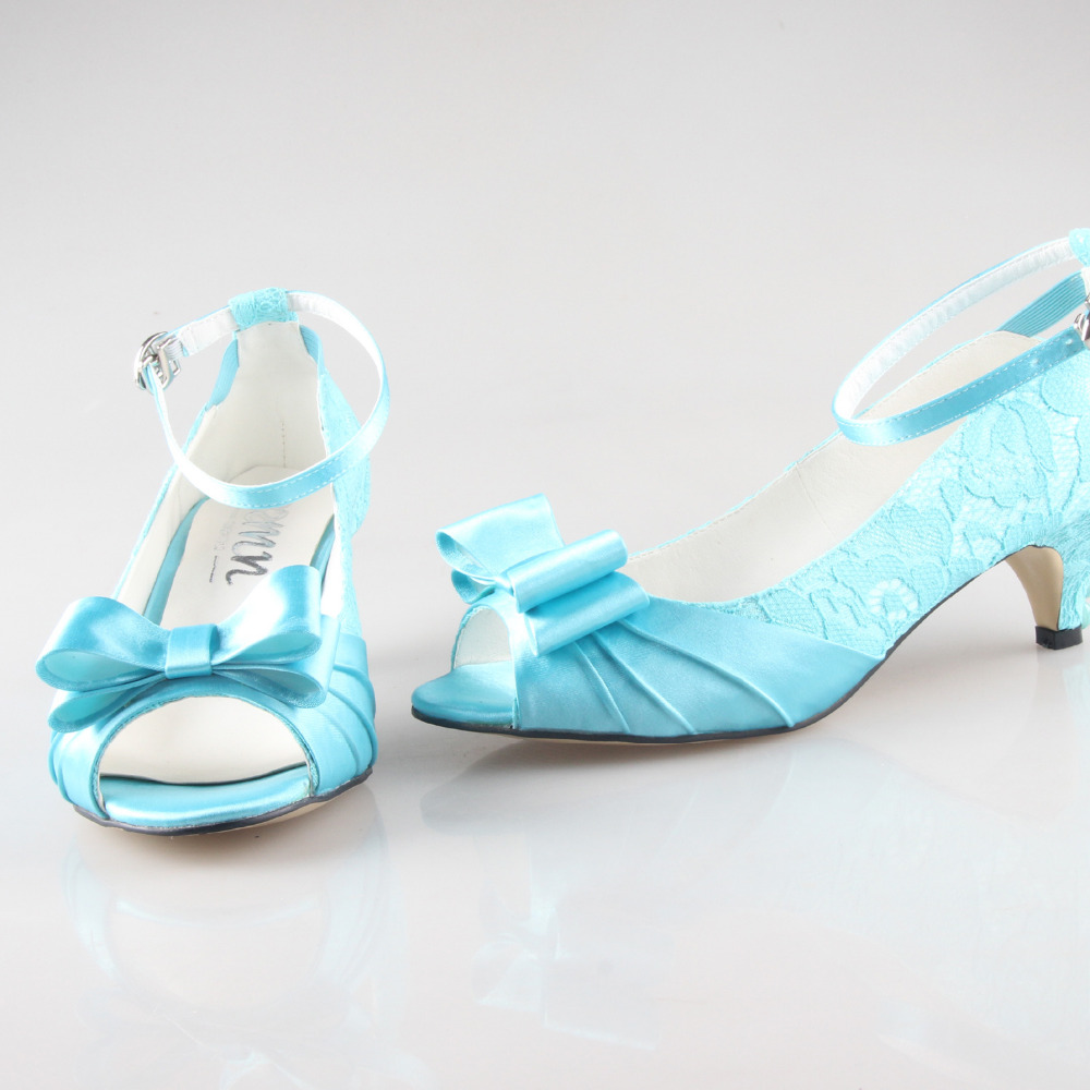 Creativesugar Handmade turquoise lace low heel wedding party prom pumps with pearls party prom bridal wedding shoes big size - 3