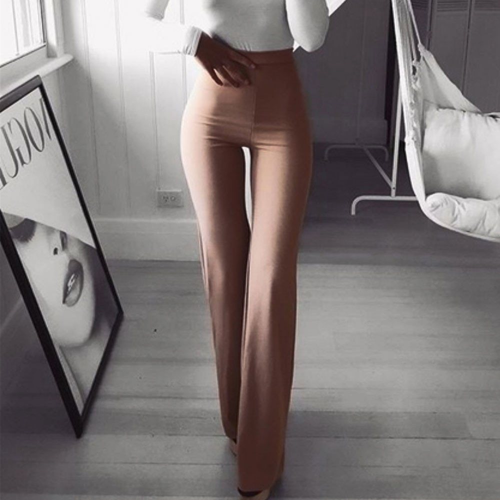 Women Pants Fashion Solid Elasticity Skinny Leggings Falare Pants Trousers Women High Waist Elastic Waist Clothes Bottoms
