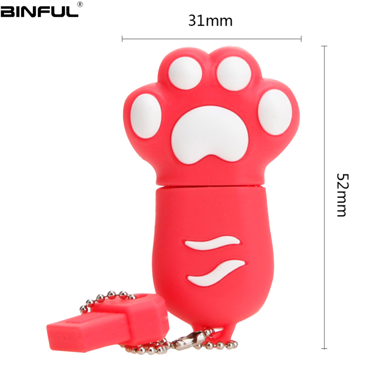 Image 2 - Hot Sale Cat Paw Usb Flash Drive 32GB 64GB 128GB Pendrive 4G 8GB 16GB Lovely Cartoon Pen Drive High Quality Silicone Memoria Usb-in USB Flash Drives from Computer & Office