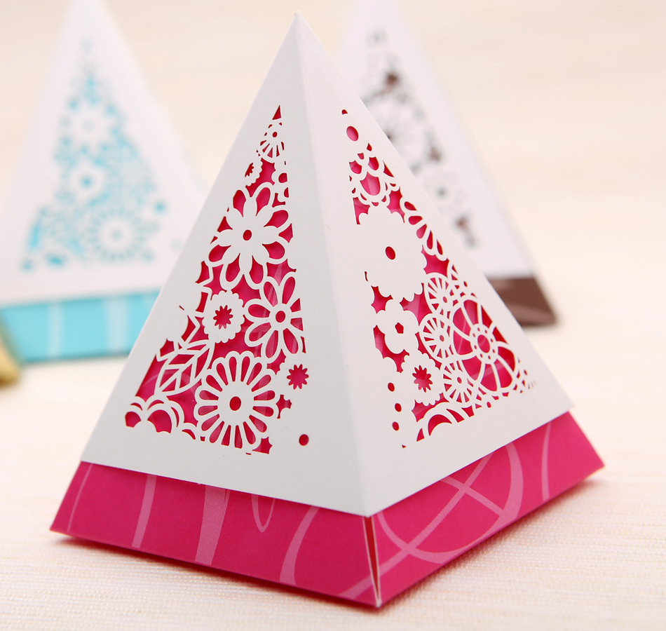 free shipping red laser cut wedding gift package boxes