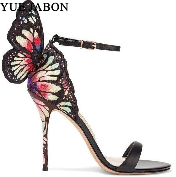 Flower Embroider Gladiator Sandals Women Butterfly Angel Wing Mixed Colors Fashion High Heels Party Wedding Shoes