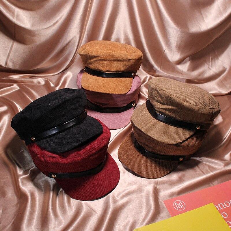 Militärhüte 2018 Winter Vintage Hüte Für Frauen Mode Pu Seil Cord Militärischen Hut Gorras Planas Hysterese Kappen Weibliche Casquette Kappe Einen Effekt In Richtung Klare Sicht Erzeugen