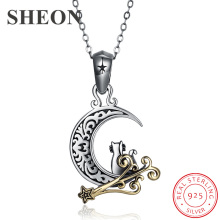 SHEON 100% 925 sterling silver Vintage Moon Long Necklaces & Pendants Women Sterling Silver Jewelry For Couple Lover Gift