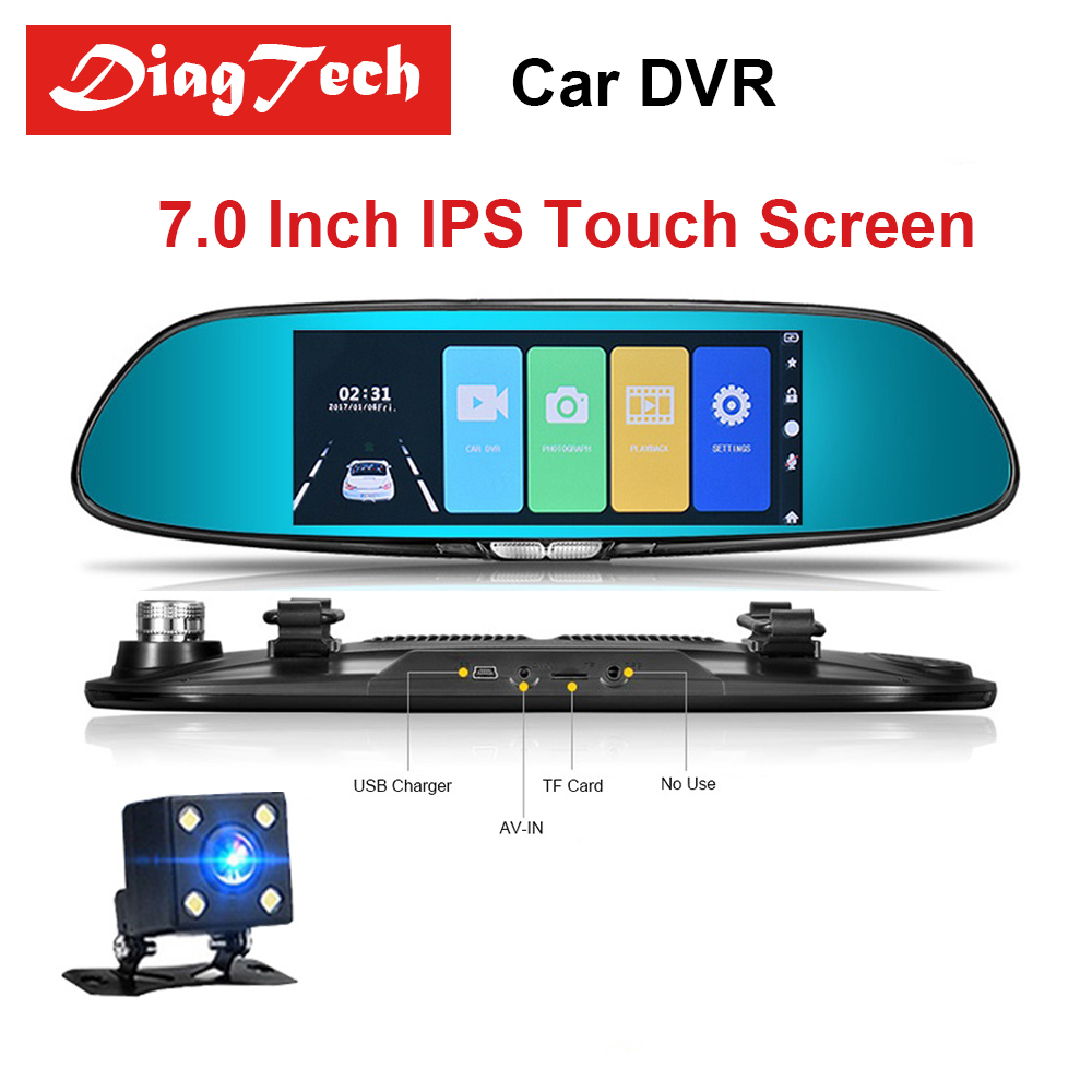 Gryan 7'' Dash Camera Car DVR IPS Touch Screen Dual Lens With Rearview Mirror Auto Dashcam Recorder Full HD 1080P Car Dvr Camera цена 2017