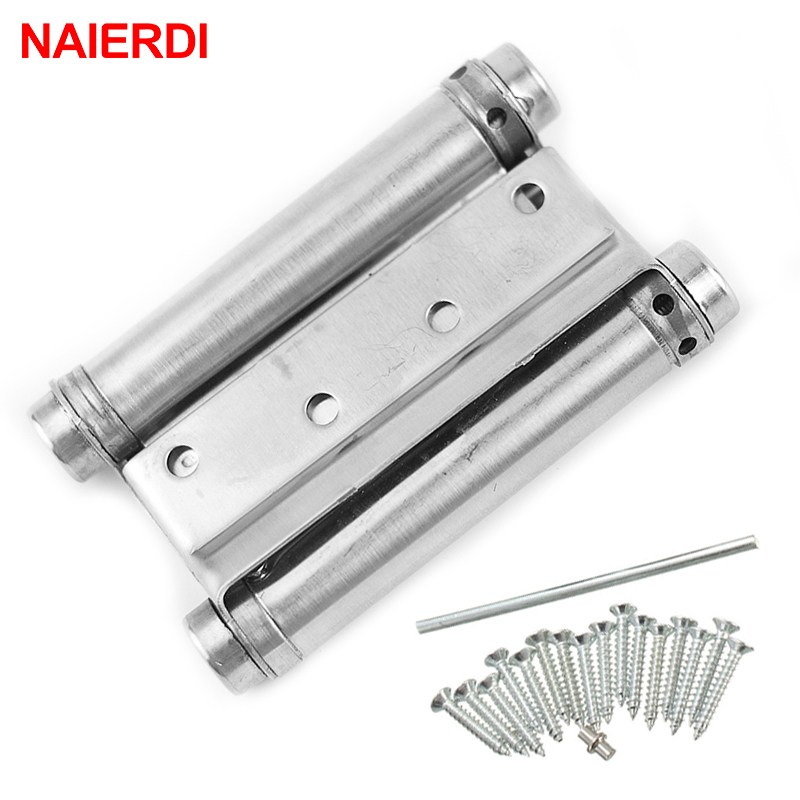2PCS NAIERDI 3-5 Inch Double Action Spring Door Hinge Stainless Steel Rebound Hinges For Cafe Swing Western Furniture Hardware 8 inch stainless steel double action concealed door silver spring hinges for saloon cafe door shop swing door 2pcs