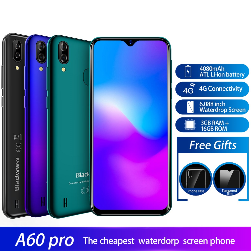 Blackview A60 Pro Android 9 0 Smartphone 6 088 inch Waterdrop Screen 3GB 16GB Dual Rear