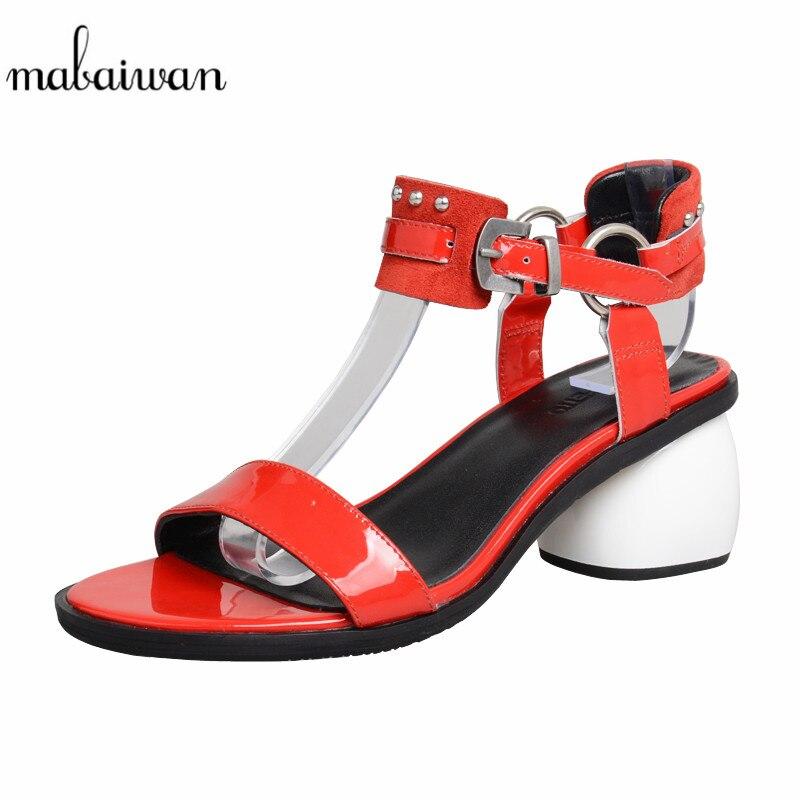 Mabaiwan 2019 Fashion Summer Women Sandals Mid Heel Gladiator Dress Shoes Woman Rivet Genuine Leather Open Toe Rome SandaliasMabaiwan 2019 Fashion Summer Women Sandals Mid Heel Gladiator Dress Shoes Woman Rivet Genuine Leather Open Toe Rome Sandalias