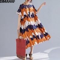 DIMANAF Plus Size Women Dress Summer Sundress Linen Print Patchwork Big Size Female Lady Vestidos Loose Casual Beach Dress 2019