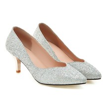 2016 New fashion women silver pumps big size 32-43 Spring/Autumn ladies shoes sexy Pointed Toe Slip-On Glitter high heels 3086