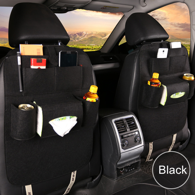 Car Seat Back Storage Bag Organizer Box Felt Covers Backseat Holder Multi-pockets Container Universal Stowing Tidying Protector