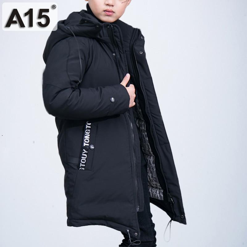 2018 Russland Winter Jungen Lange Unten Jacke Teenager Junge Warme Starke Baumwolle Unten Parkas Kinder Mit Kapuze Mäntel Kinder Kleidung 12 14 Jahr