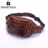 Saco da cintura dos homens de couro genuíno marrom/caqui bolsa estilo saco travesseiro em forma de cinto fanny pack cintura mensageiro saco bolsos cinturon