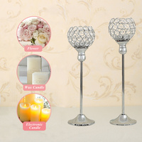 Romantic 3pcs Set Silver Crystal Candle Holder Hollow Glass Candlestick Centerpiece Floral Candelabrum Wedding Home