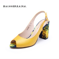 Sandals Women Summer 2017 New Leather Shoes Woman High Heels Open Toe Back Strap Yellow White