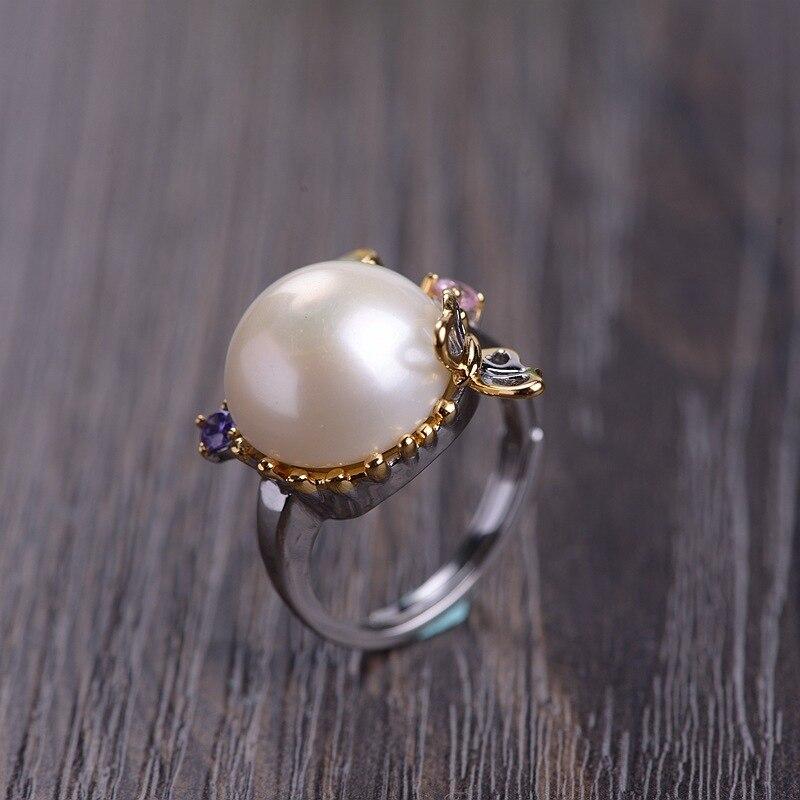 S925 argent plaqué or mode femmes mode zircon perle anneau livraison gratuite