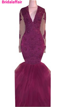 2018 new Sexy Mermaid V Neck Lace Crystal Beaded Long Sleeves Burgundy Open Sheer Back Evening Dress Party Pageant Formal Gowns white lace flower girls dresses for weddings crew neck mermaid beaded lace up back party gowns tulle long pageant dress