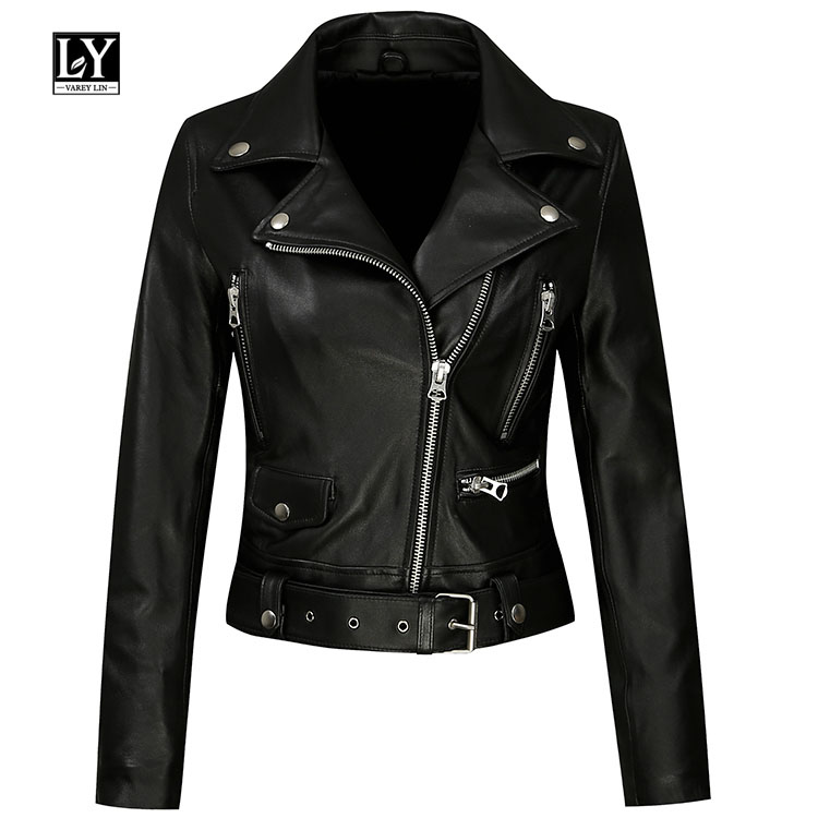 Ly Varey Lin Faux Soft   Leather   Women Jacket Black Pu   Leather   Punk Motorcycle Lady Slim Turndown Collar Biker Jacket Outerwear