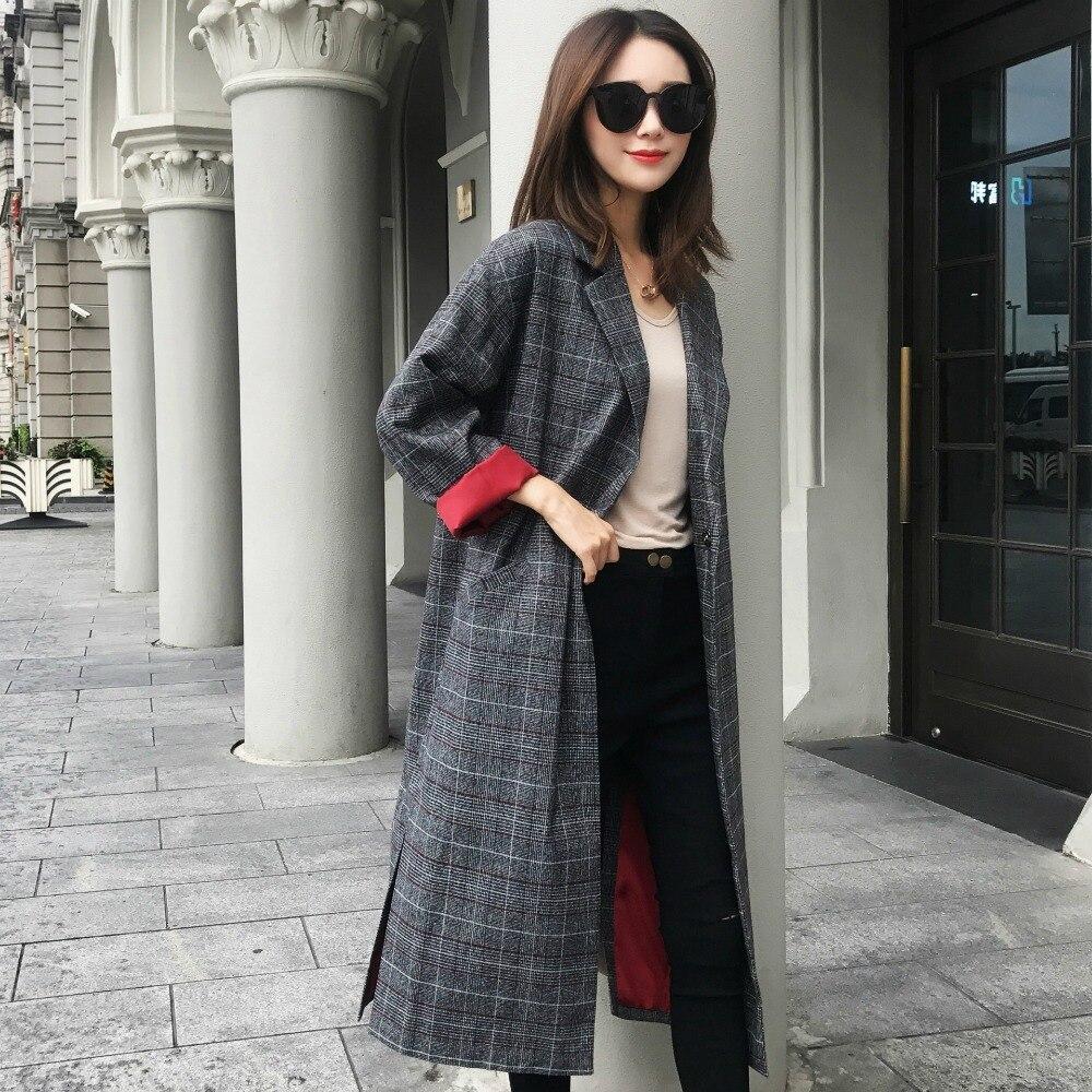 Droite Blazer Plaid Toutes Mode Sélections Femmes Classique Les Survêtement De Vérifié Long Manteau z8wgxqAHT