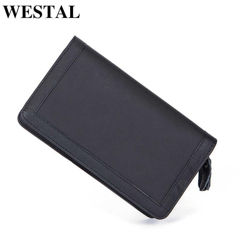 616a554c13c7 WESTAL вместительный клатч сумка мужской кошелек мужской натуральная кожа  телефон бумажник кошелек мужской длинный подарок мужчине
